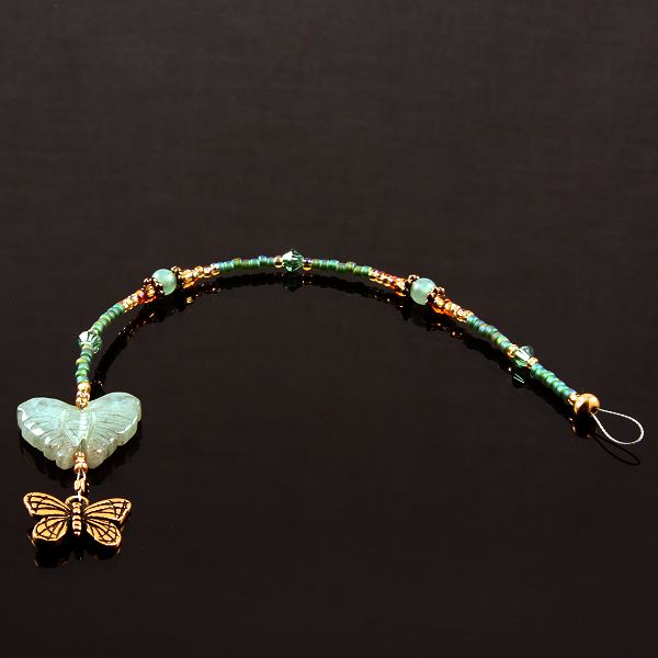 6 Inch Dangly-Bit:  Butterfly, Gold Plate with Adventurine