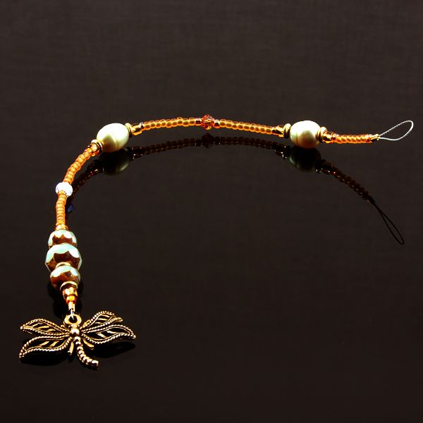 6 Inch Dangly-Bit:  Butterfly, Gold Plate with Avocado Pearl and Czech Glass