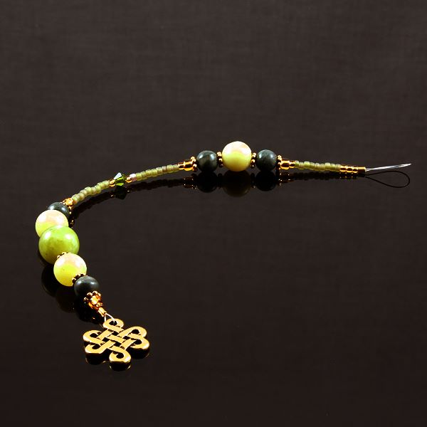 6 Inch Dangly-Bit:  Celtic Knot, Gold Plate with Jade and New Jade